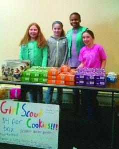 needham girl scouts selling cookies