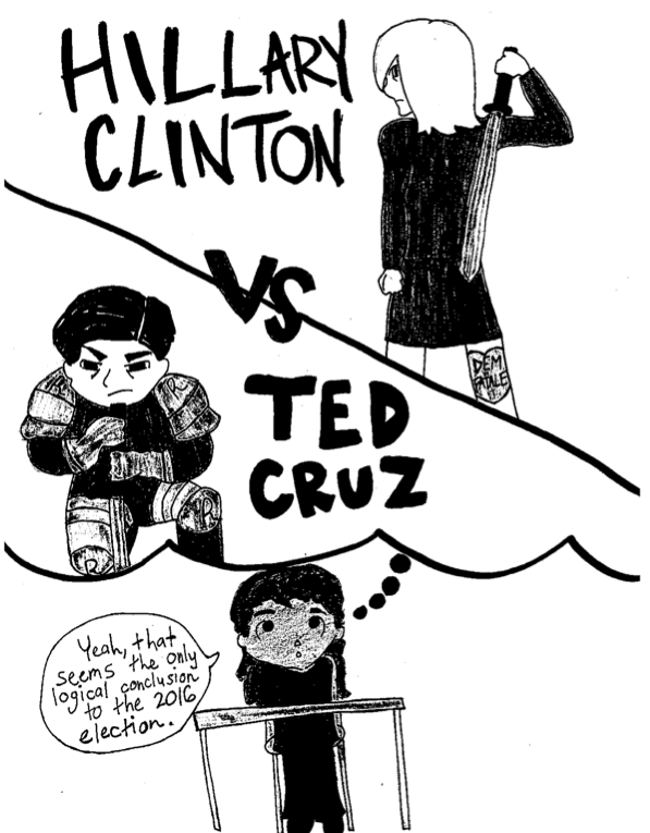 comic of hilary clinton and ted cruz fighting like a video game
