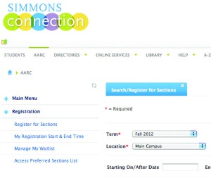 pic of the class registration website