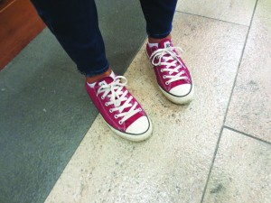 A student's red Converse sneakers
