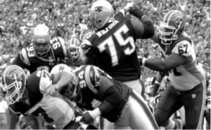 Vince Wilfork of the Patriots, mid-tackle