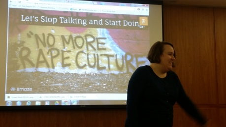 Gina Capra presenting a workshop on rape culture