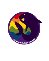A rainbow logo for Simmons Alliance, overlaid with a smiling purple shark