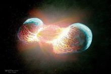 Artist's depiction of the head-on collision between Earth and Theia