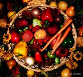 A basket of high-fiber fruits and veggies