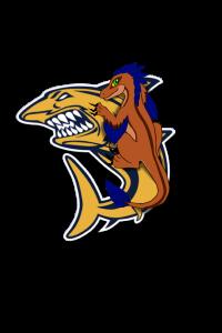 A velociraptor illustration overlaying the Simmons Shark logo