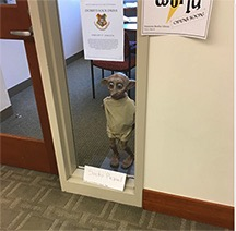 A statue of Dobby patrols one of the library offices