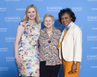 Helen Drinan poses with conference speakers Anita Hill and Geena Davis