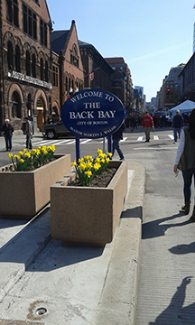 In Back Bay, a flower planter greets runner with blooming daffodils