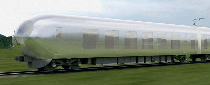 The design of the relective, silver-bullet-shaped train