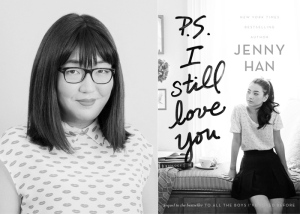 "Author Jenny Han opposite the cover of ""P.S. I Still Love You"""