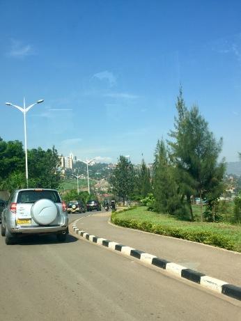 Driving along a road in Rwanda