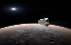 Artist's depiction of the Mars horizon with SpaceX above