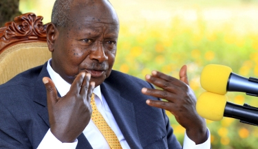 Uganda incumbent and President elect Yoweri Museveni addresses the nation at his country home in Rwakitura